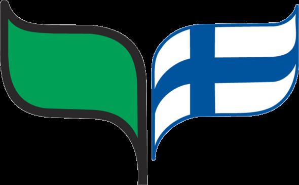 Kuvassa on sirkkalehtimerkki. Merkin oikenpuoleinen lehti on Suomen lippu ja vasemmanpuoleinen vihreä.